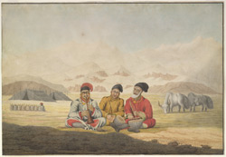 Encampment at Ghertope (Tibet); snows in the background, two tents, goats and two yaks in the middle distance. Three musicians seated in the foreground, 21 July 1812